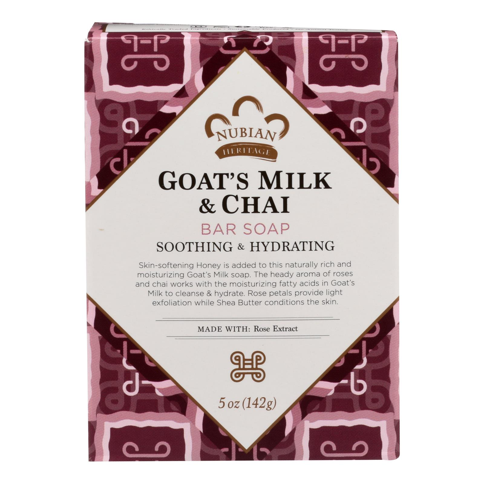 Nubian Heritage Bar Soap Goat's Milk And Chai - 5 oz