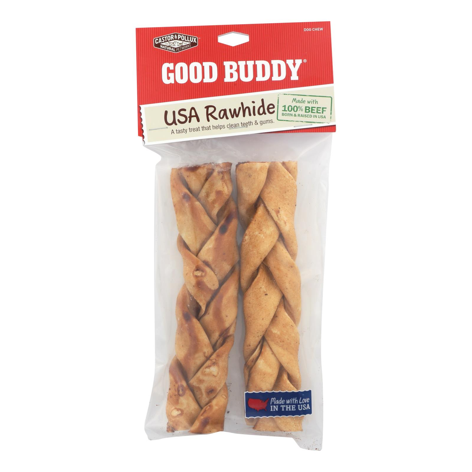 Castor and Pollux Good Buddy Braided Sticks Dog Chews - Chicken Braids - Case of 9
