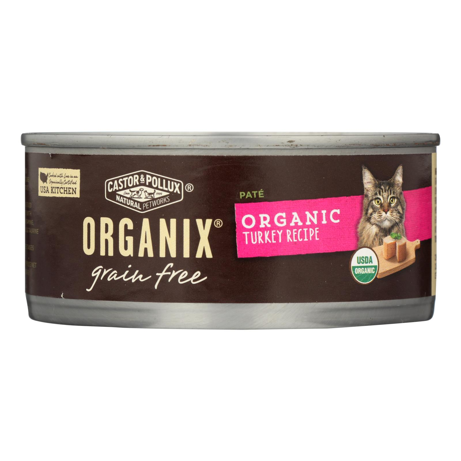 Castor and Pollux Organic Cat Food - Turkey Pate - Case of 24 - 5.5 oz.
