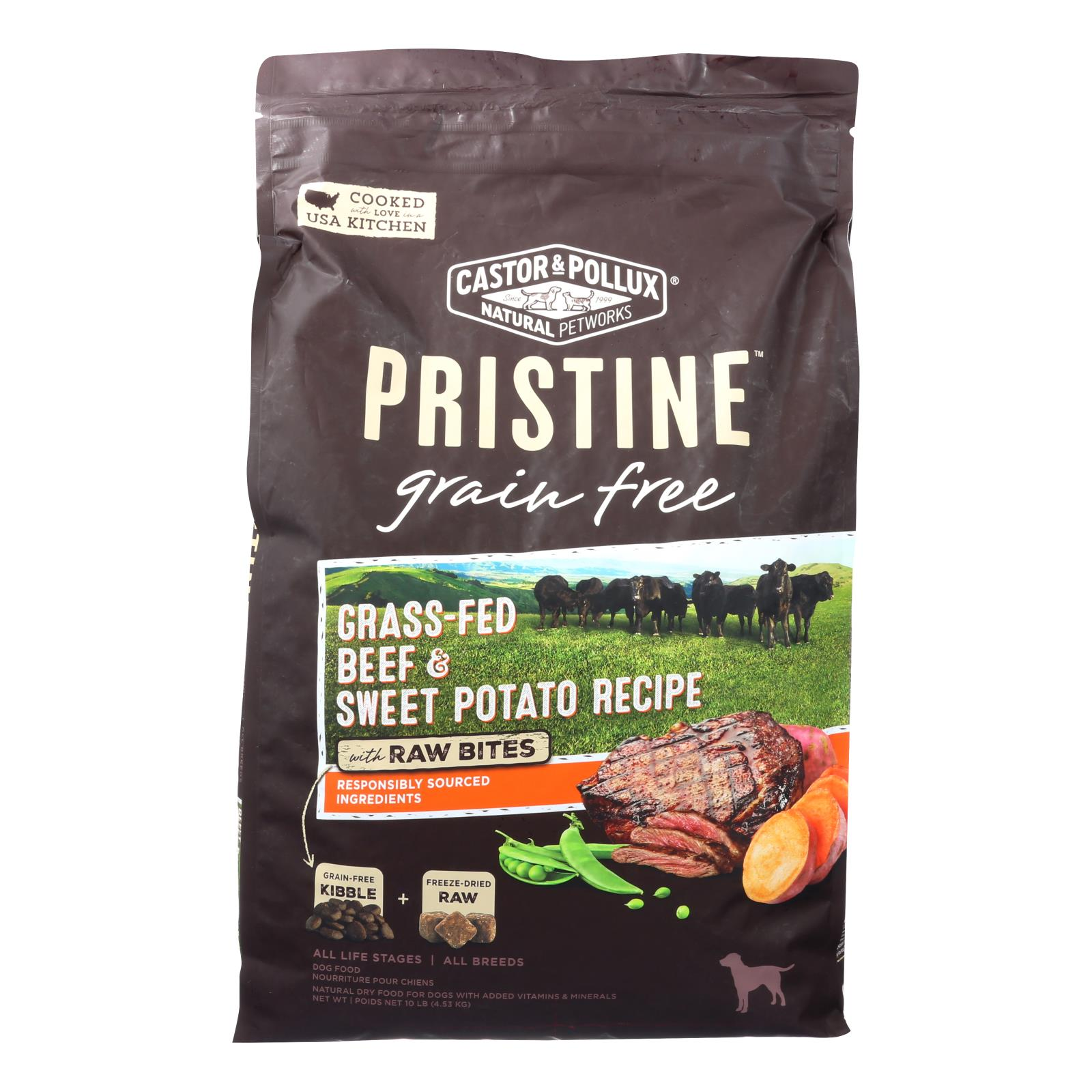 Castor and Pollux - Pristine Grain Free Dry Dog Food - Beef and Sweet Potato - 10 lb.
