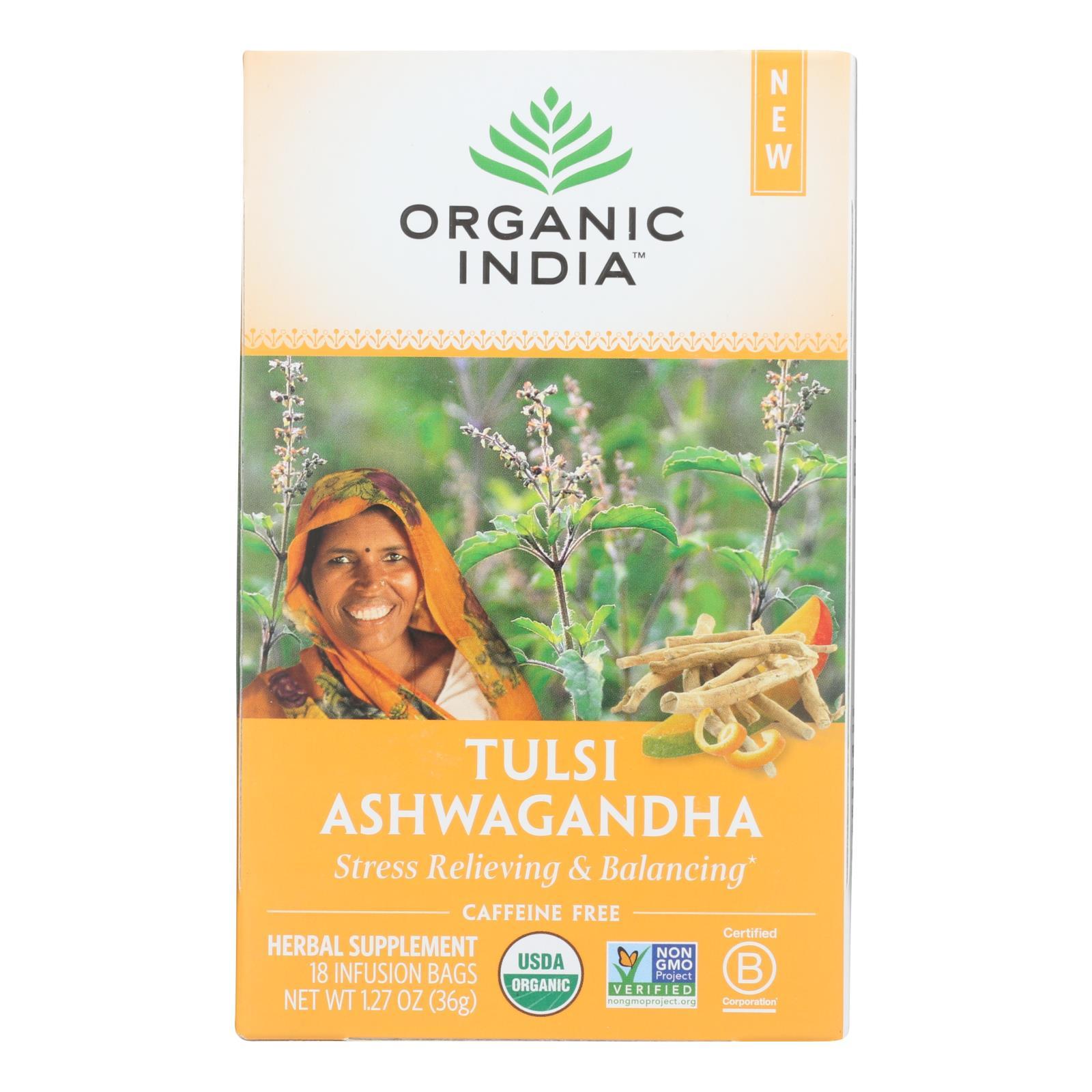 Organic India - Tulsi Ashwagandha - Case of 6 - 18 CT