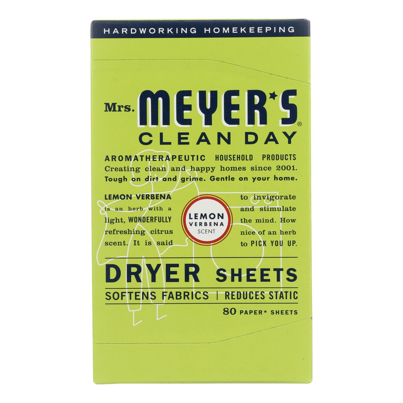 Mrs. Meyer's Clean Day - Dryer Sheets - Lemon Verbena - Case of 12 - 80 Sheets