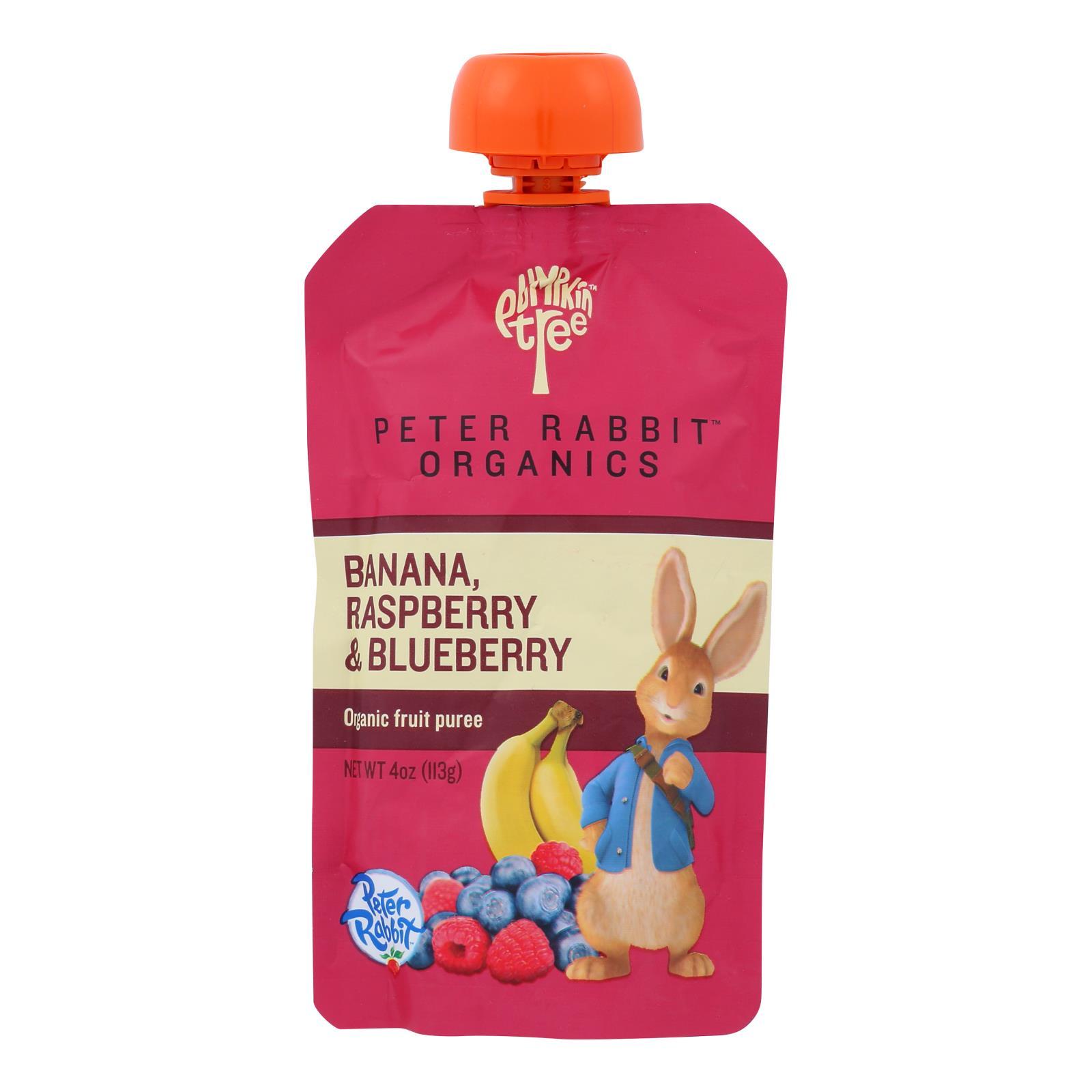 Peter Rabbit Organics Fruit Snacks - Raspberry Banana and Blueberry - Case of 10 - 4 oz.