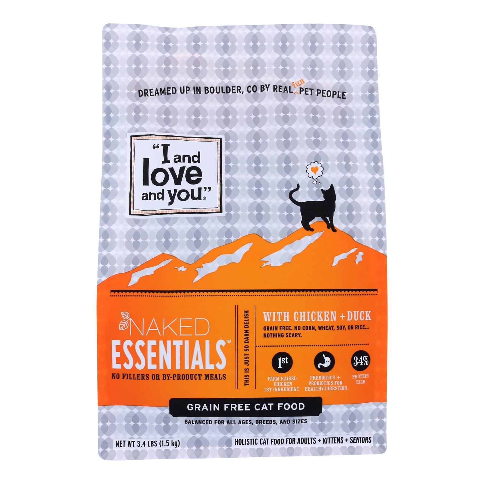 I And Love And You Cat Dry Food Naked Essentials With Chicken And Duck  - Case of 3 - 3.4 LB