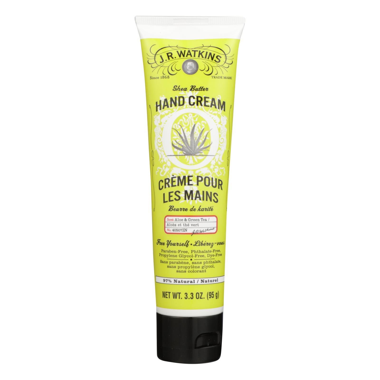 J.R. Watkins Shea Butter Hand Cream Aloe and Green Tea - 3.3 oz