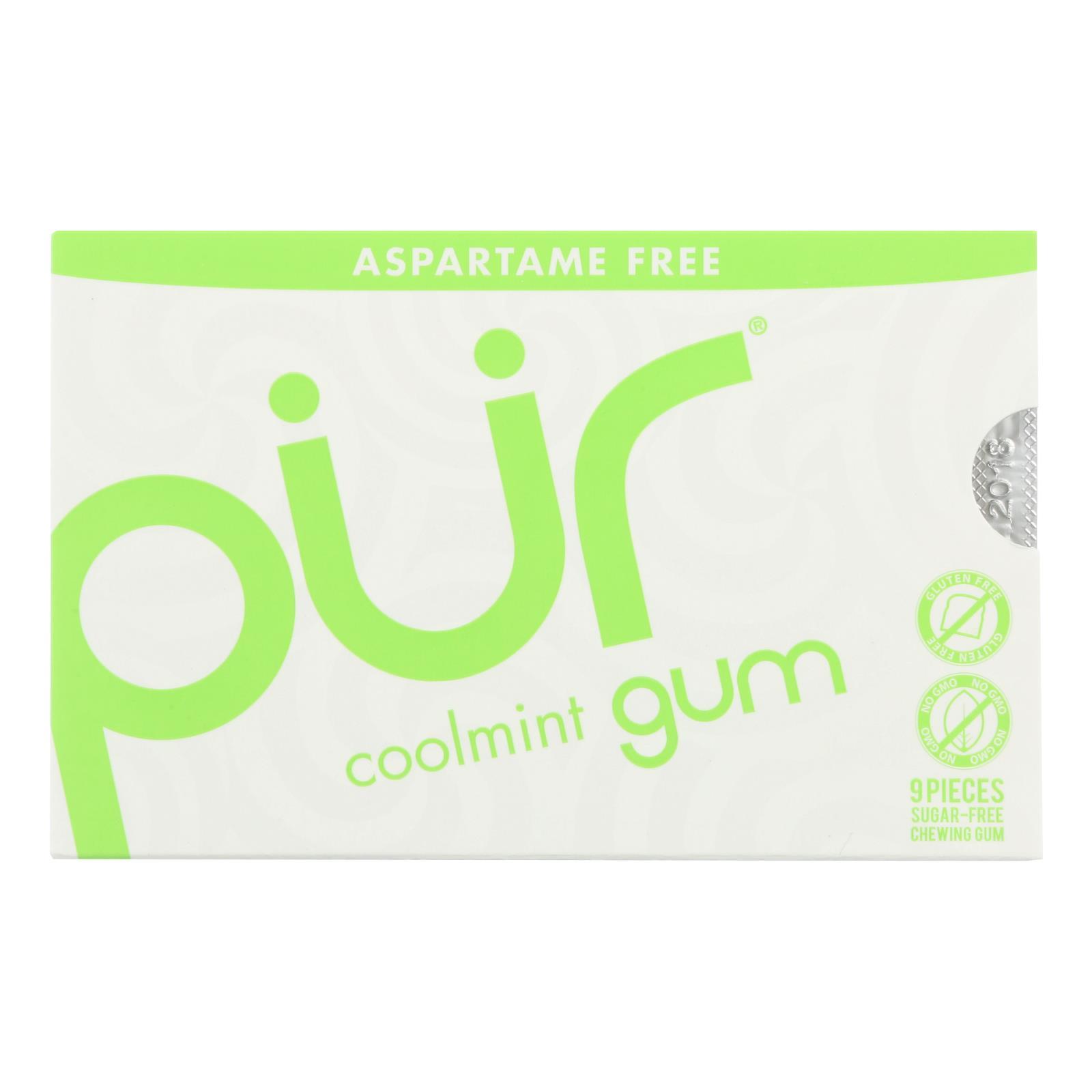 Pur Gum - Coolmint - Aspartame Free - 9 Pieces - 12.6 g - Case of 12