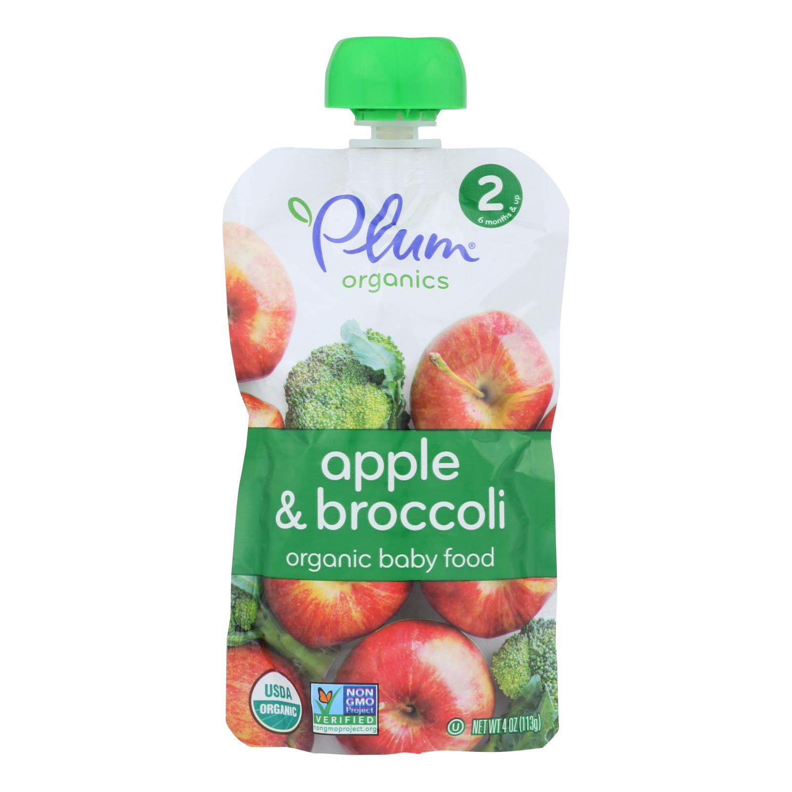 Plum Organics Baby Food - Organic - Broccoli and Apple - Stage 2 - 6 Months and Up - 4 oz - Case of 6