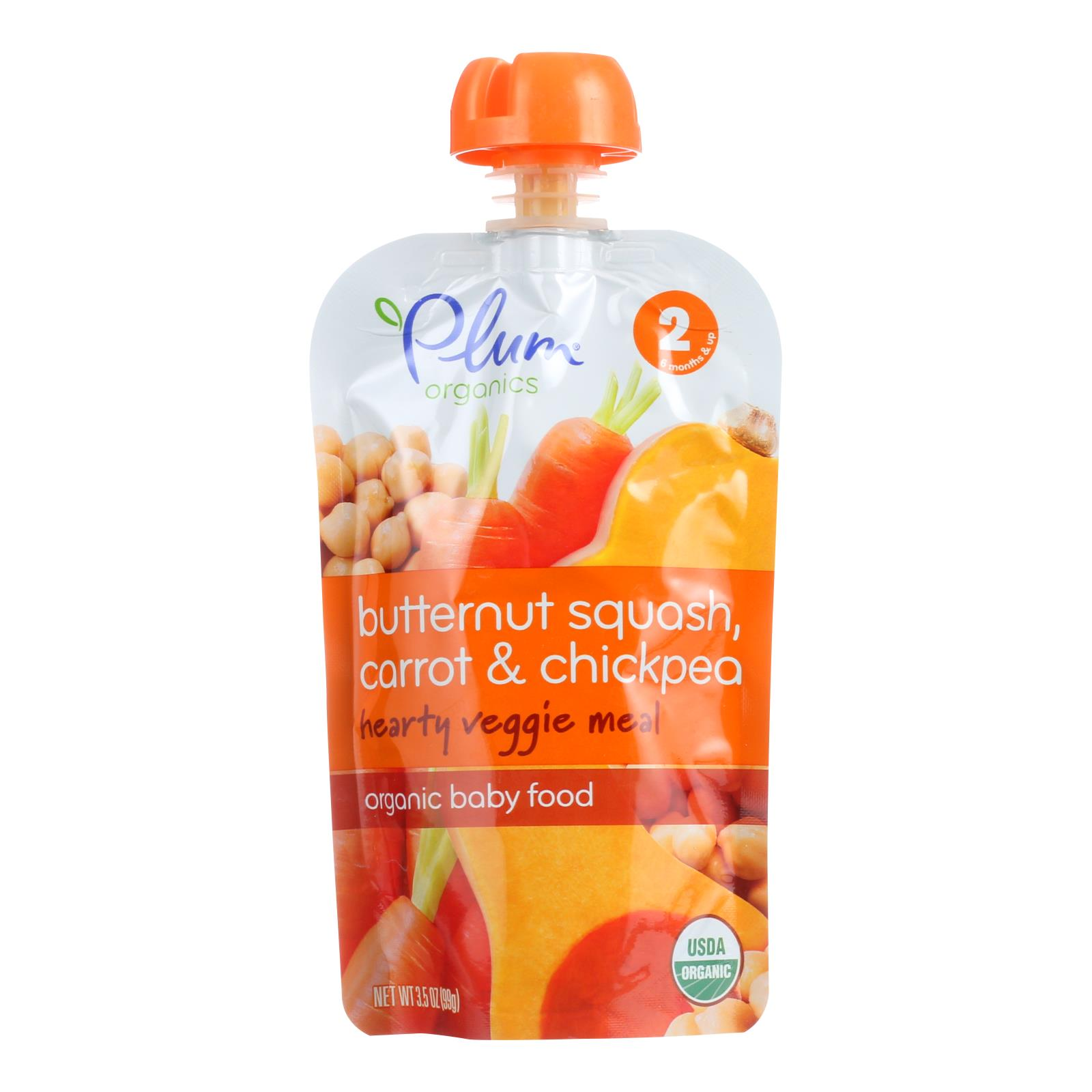 Plum Organics Second Blends Hearty Veggie Meal - Butternut Squash Carrot and Chickpea - Case of 6 - 3.5 oz.