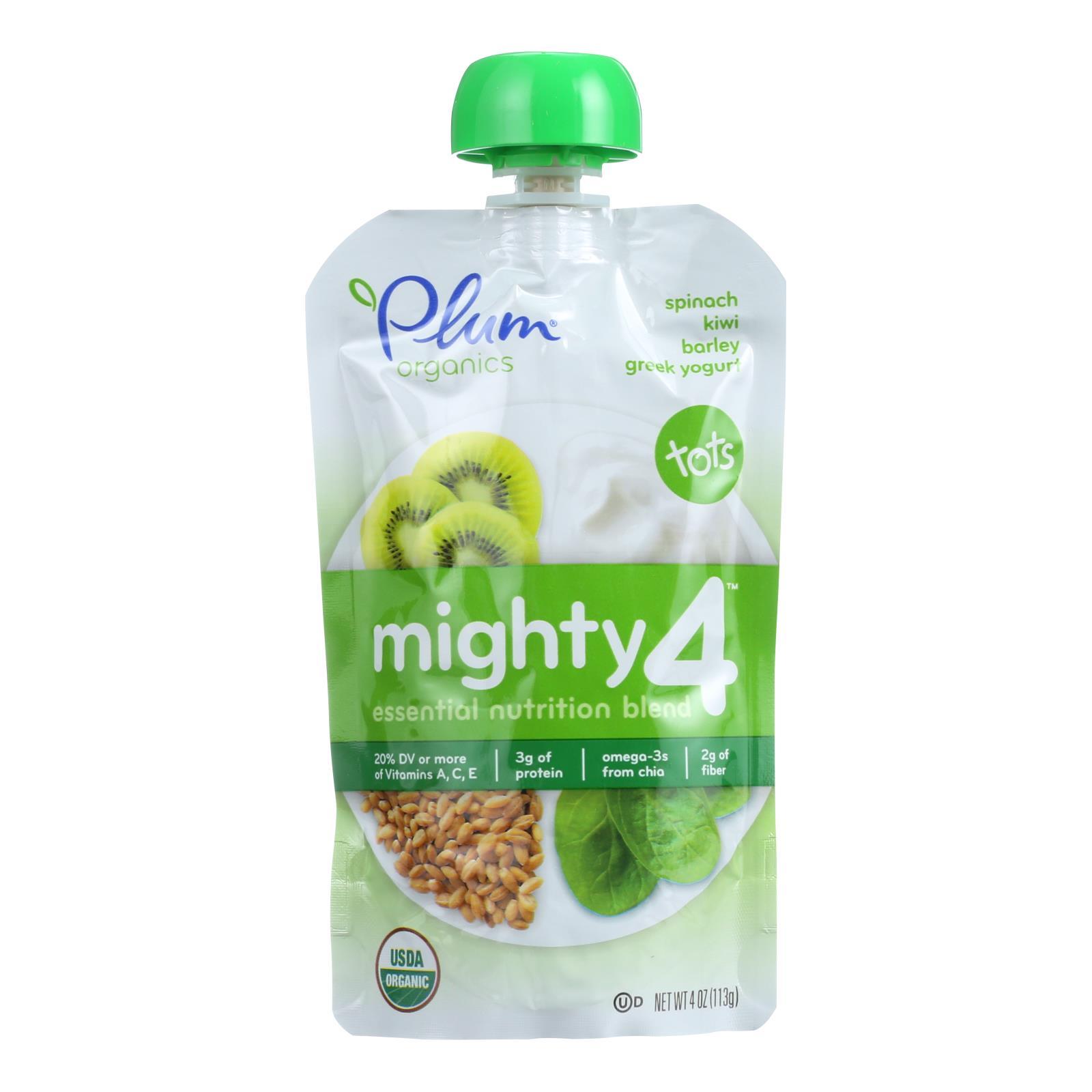 Plum Organics Essential Nutrition Blend - Mighty 4 - Spinach Kiwi Barley Greek Yogurt - 4 oz - Case of 6
