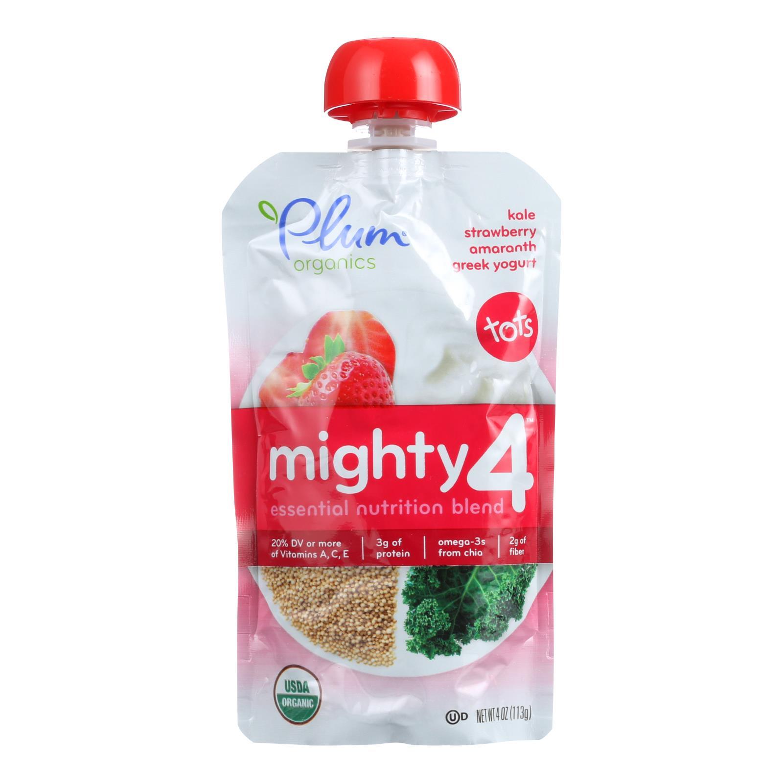 Plum Organics Essential Nutrition Blend - Mighty 4 - Kale Strawberry Amaranth Greek Yogurt - 4 oz - Case of 6