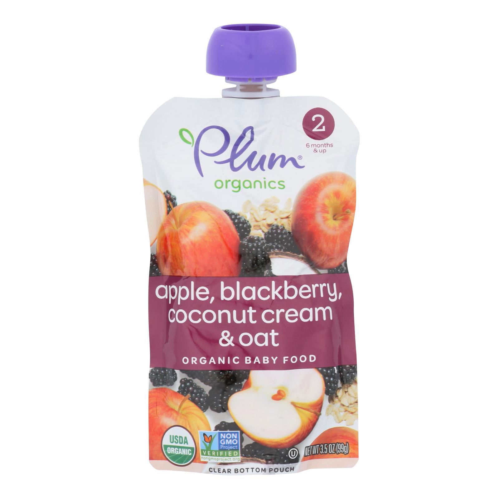 Plum Organics Plum Stage2 Blends Baby Food Apple Blackberry Coconut - Case of 6 - 3.5 OZ
