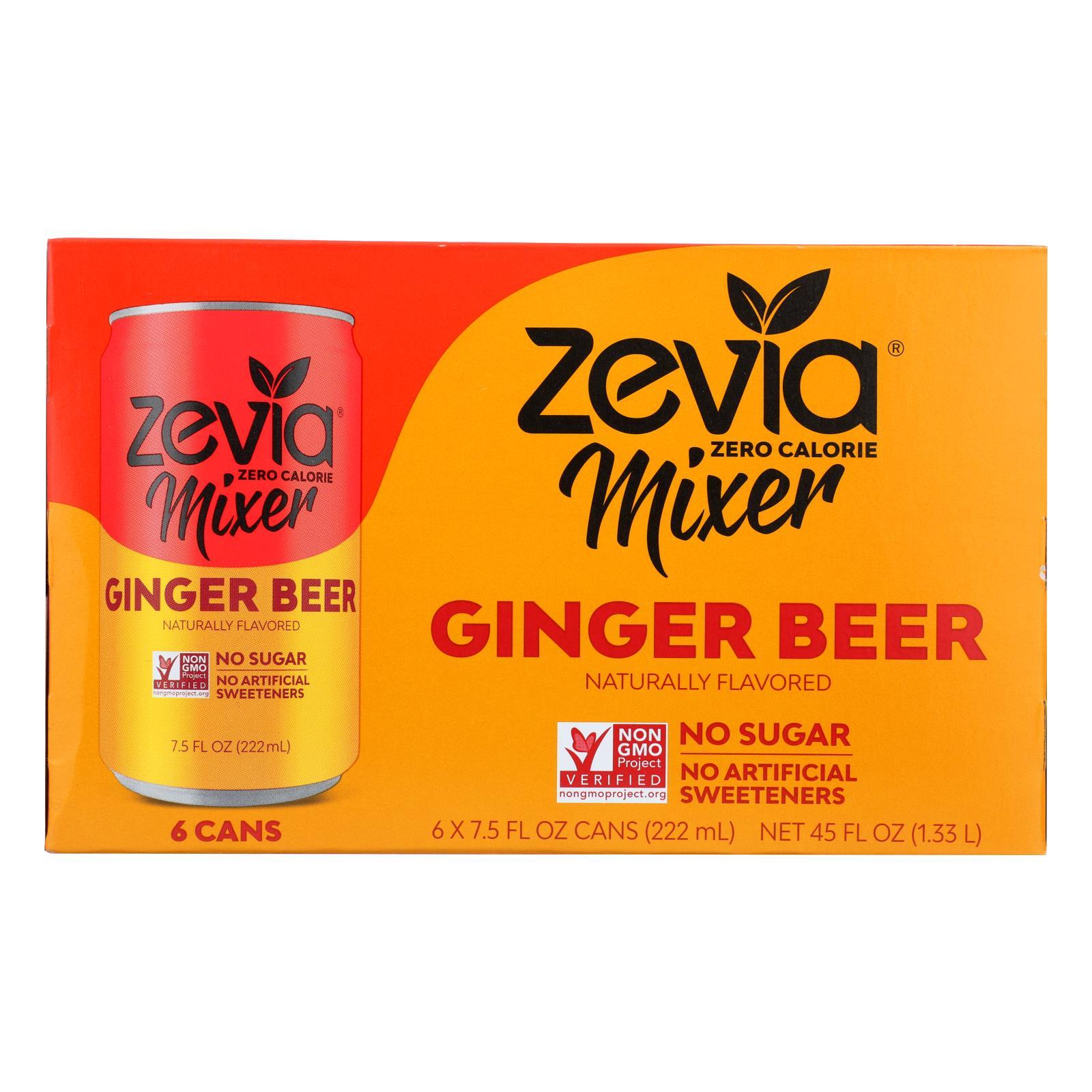 Zevia Zero Calorie Mixer - Ginger Beer - Case of 4 - 6/7.5 fl oz
