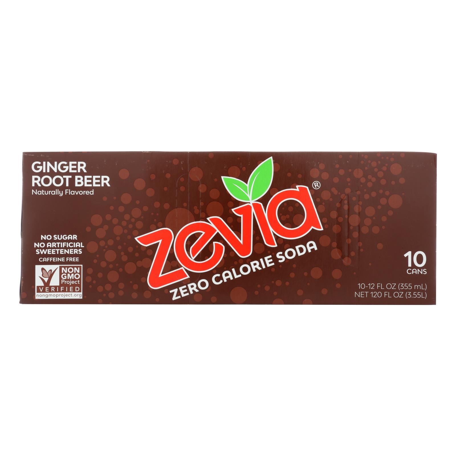 Zevia Zero Calorie Soda - Ginger Root Beer - Case of 2 - 12 Fl oz.