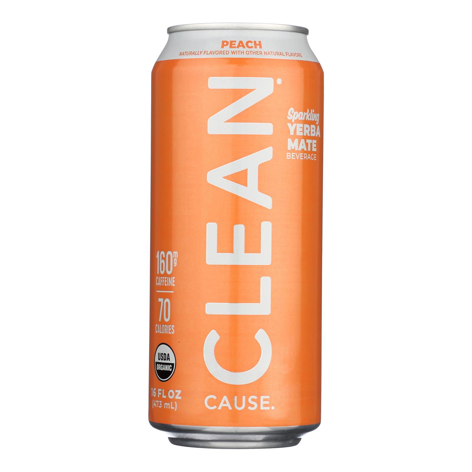 Clean Cause - Yrba Mte Peach Clean - Case of 12 - 16 FZ