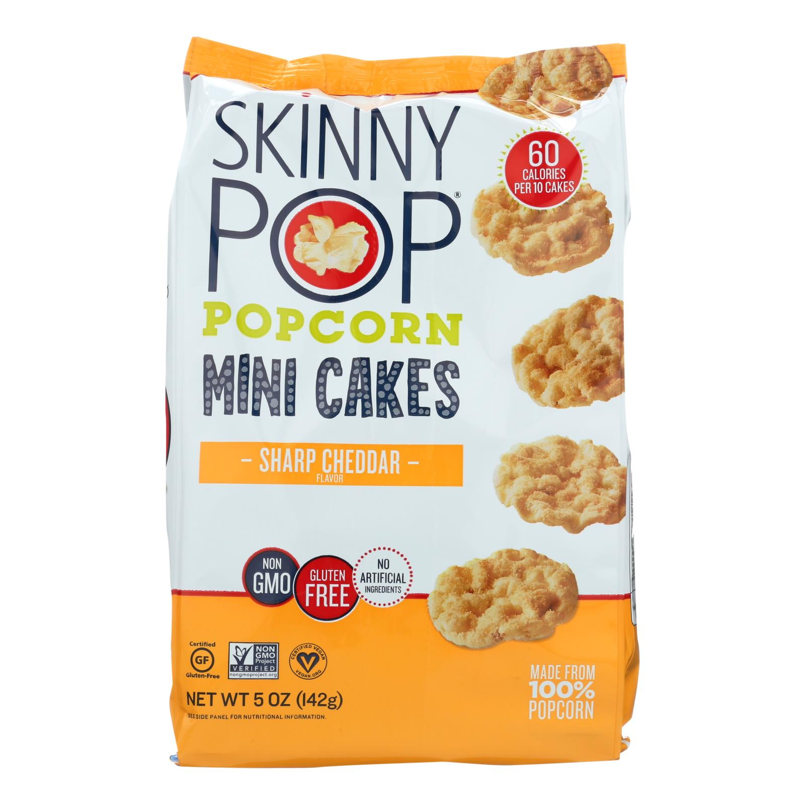 Skinnypop Mini Cheddar Popcorn Cakes  - Case of 4 - 5 OZ