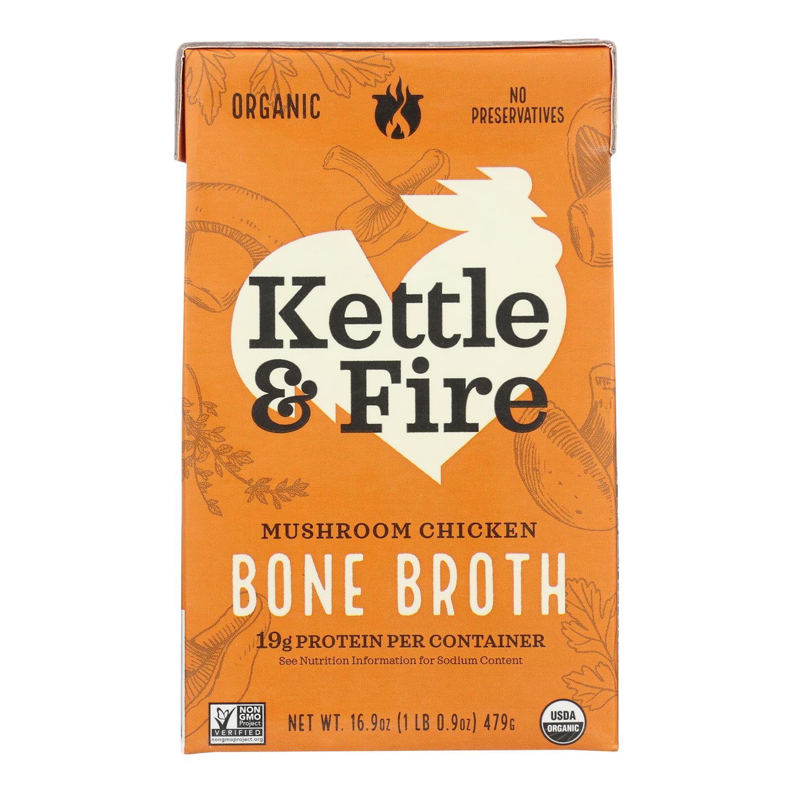 Kettle & Fire Mushroom Chicken Bone Broth  - Case of 6 - 16.9 OZ