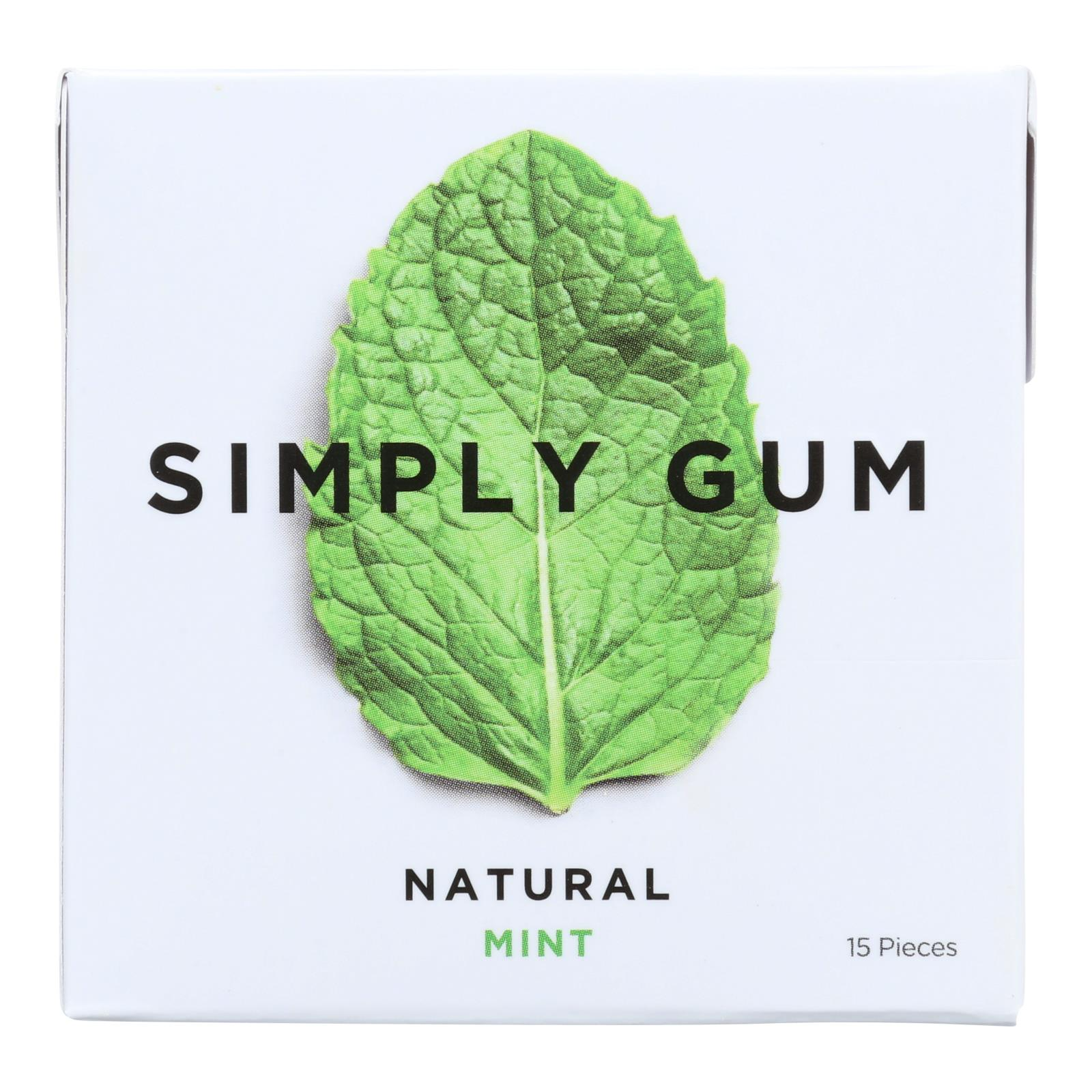 Simply Gum All Natural Gum - Mint - Case of 12 - 15 Count