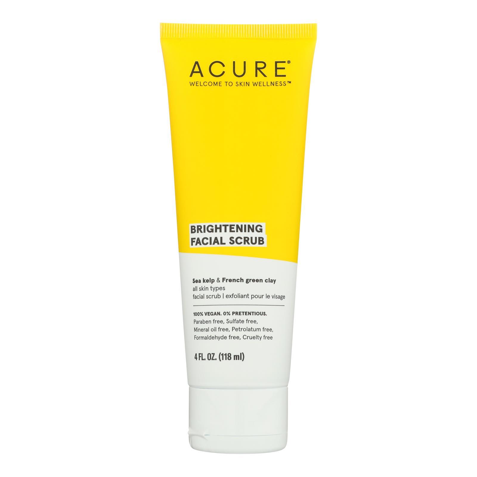 Acure - Brightening Facial Scrub - Argan Extract and Chlorella - 4 FL oz.