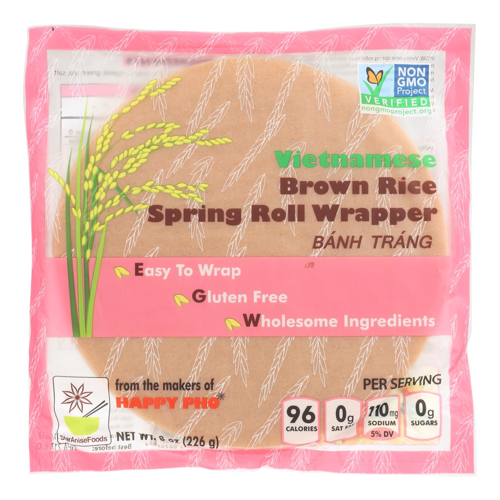 Star Anise Foods Spring Roll Wrapper - Brown Rice - Vietnamese - 8 oz - case of 6