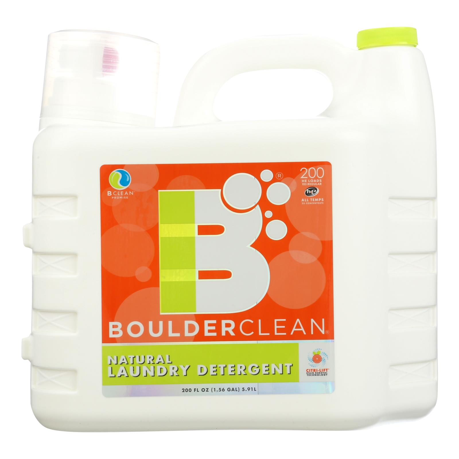 Boulder Clean - Liquid Laundry Detergent - Valencia Orange - Case of 2 - 200 fl oz.
