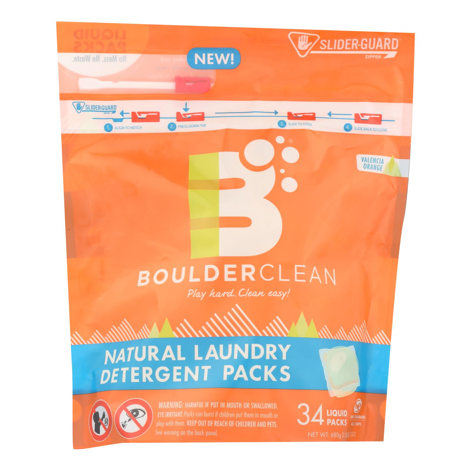 Boulder Clean - Laundry Detrgnt Natural 34 Ct - Case of 6 - 23 OZ