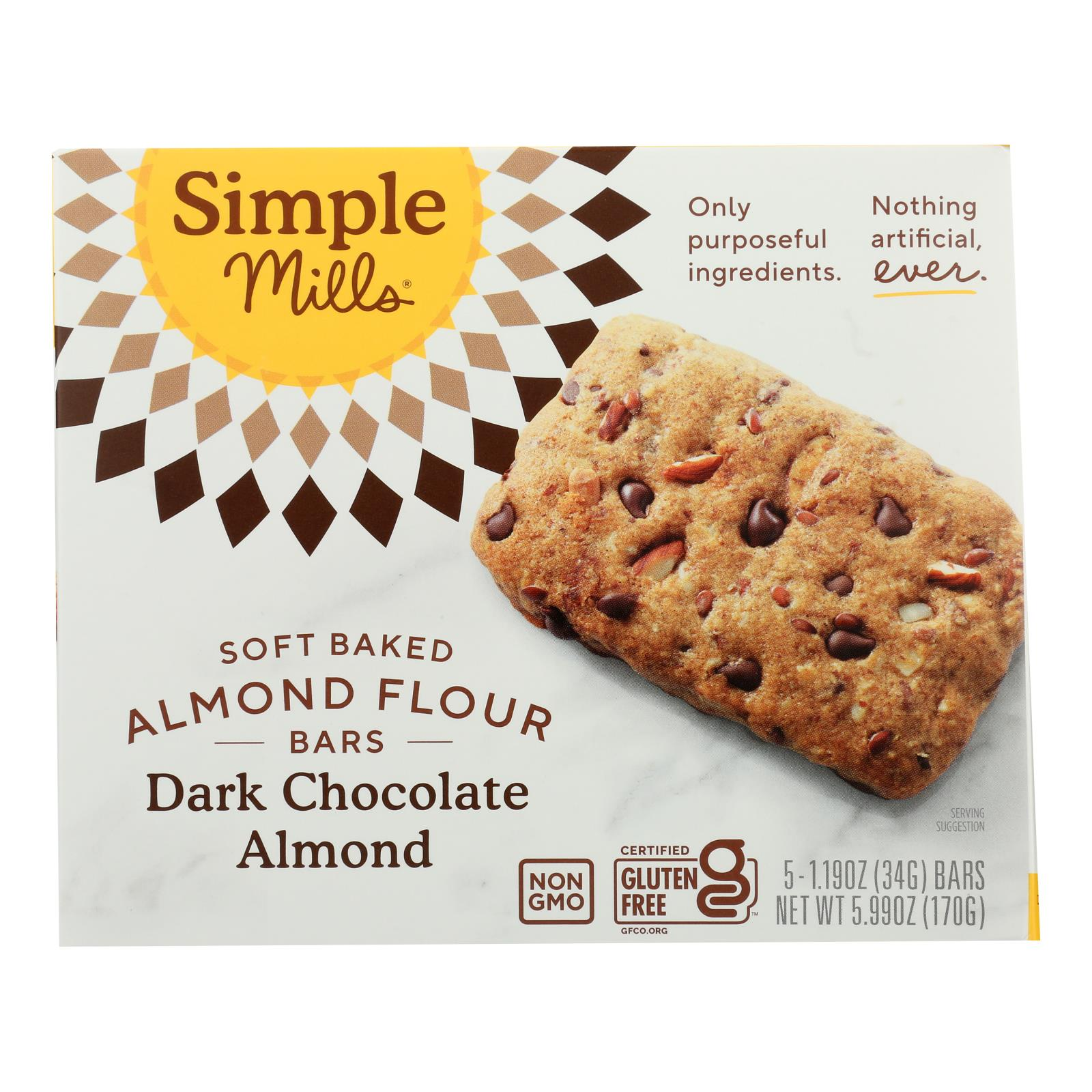 Simple Mills - Bar Sft Baked Dark Chocolate Almond - Case of 6 - 5.99 OZ