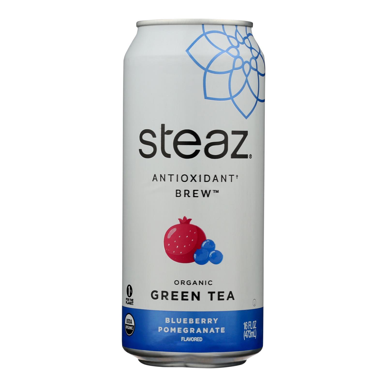 Steaz Lightly Sweetened Green Tea - Blueberry Pomegranate - Case of 12 - 16 Fl oz.