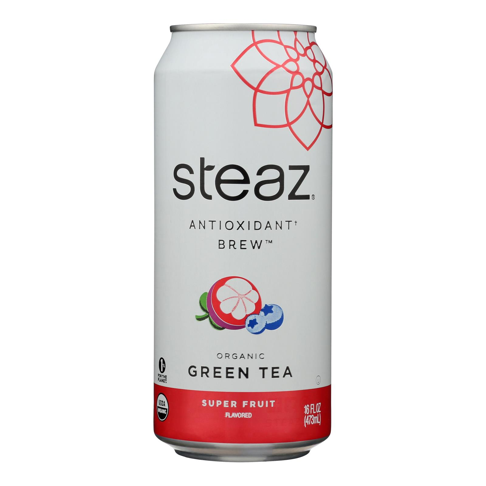 Steaz Lightly Sweetened Green Tea - Super Fruit - Case of 12 - 16 Fl oz.