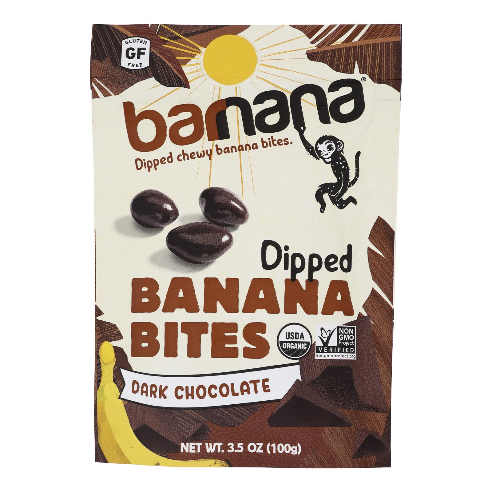 Barnana Chewy Banana Bites - Organic Chocolate - Case of 12 - 3.5 oz.