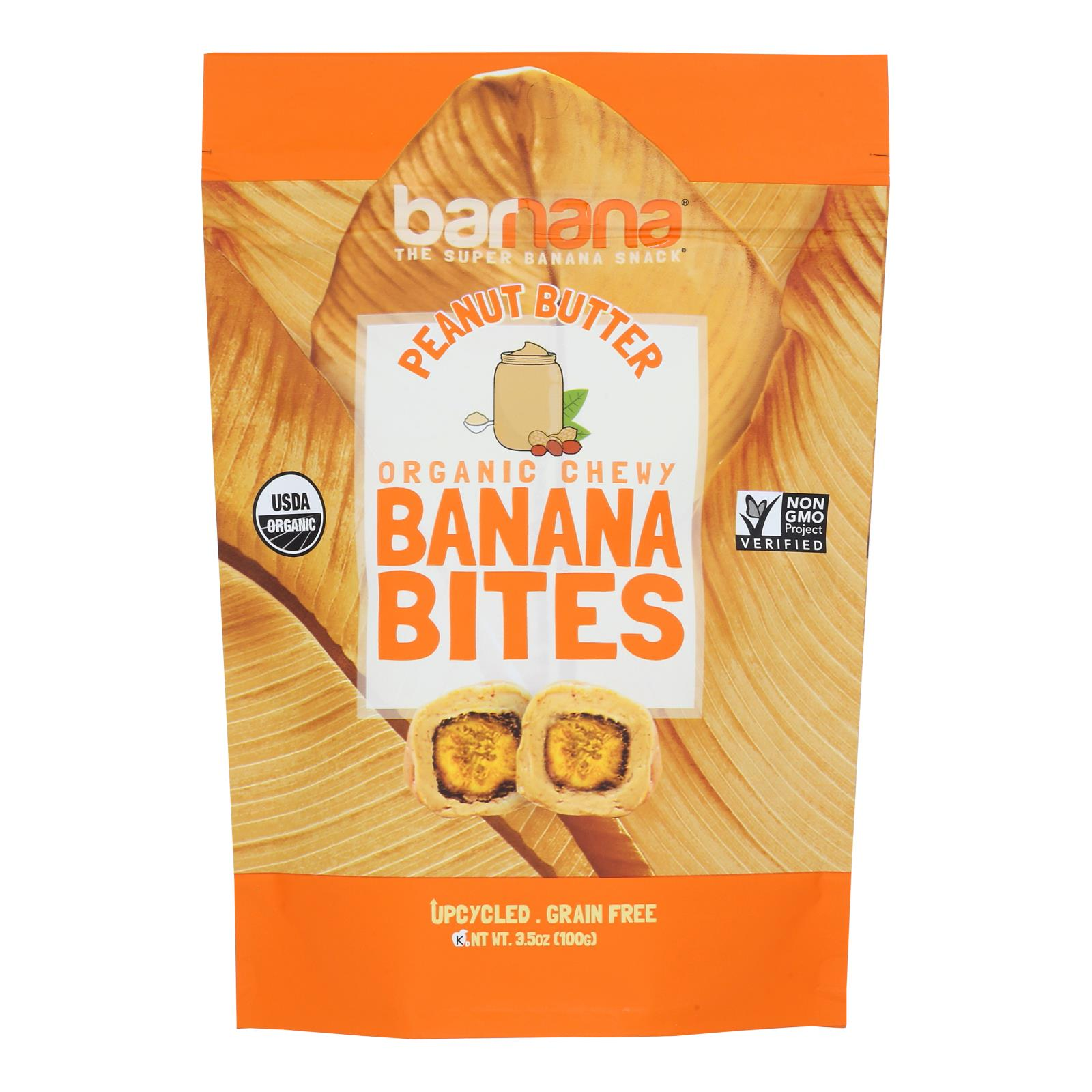Barnana Chewy Banana Bites - Organic Peanut Butter - Case of 12 - 3.5 oz.