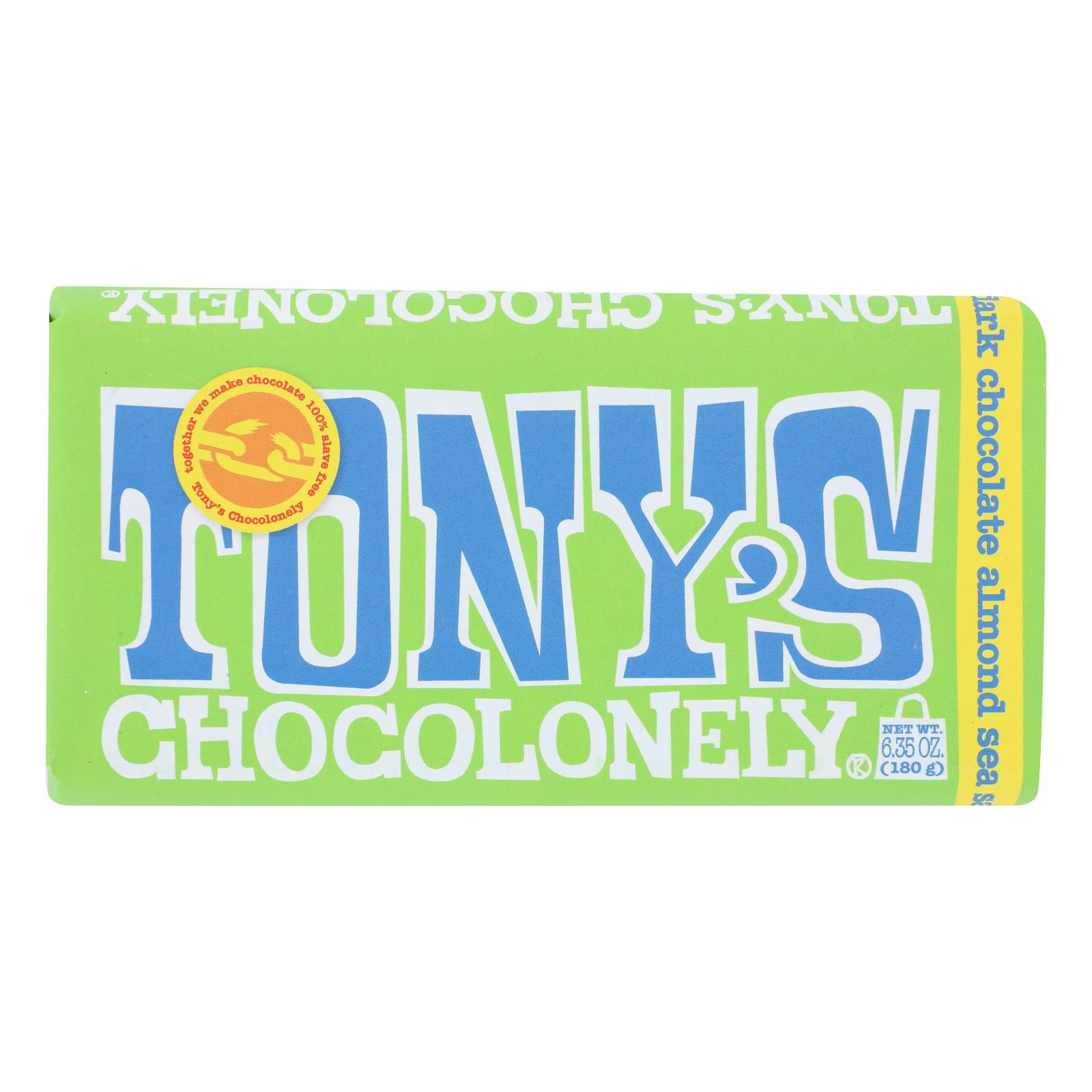 Tony's Chocolonely - Bar Chocolate Dk Almond Sea Salt 51% - Case of 15 - 6.35 OZ