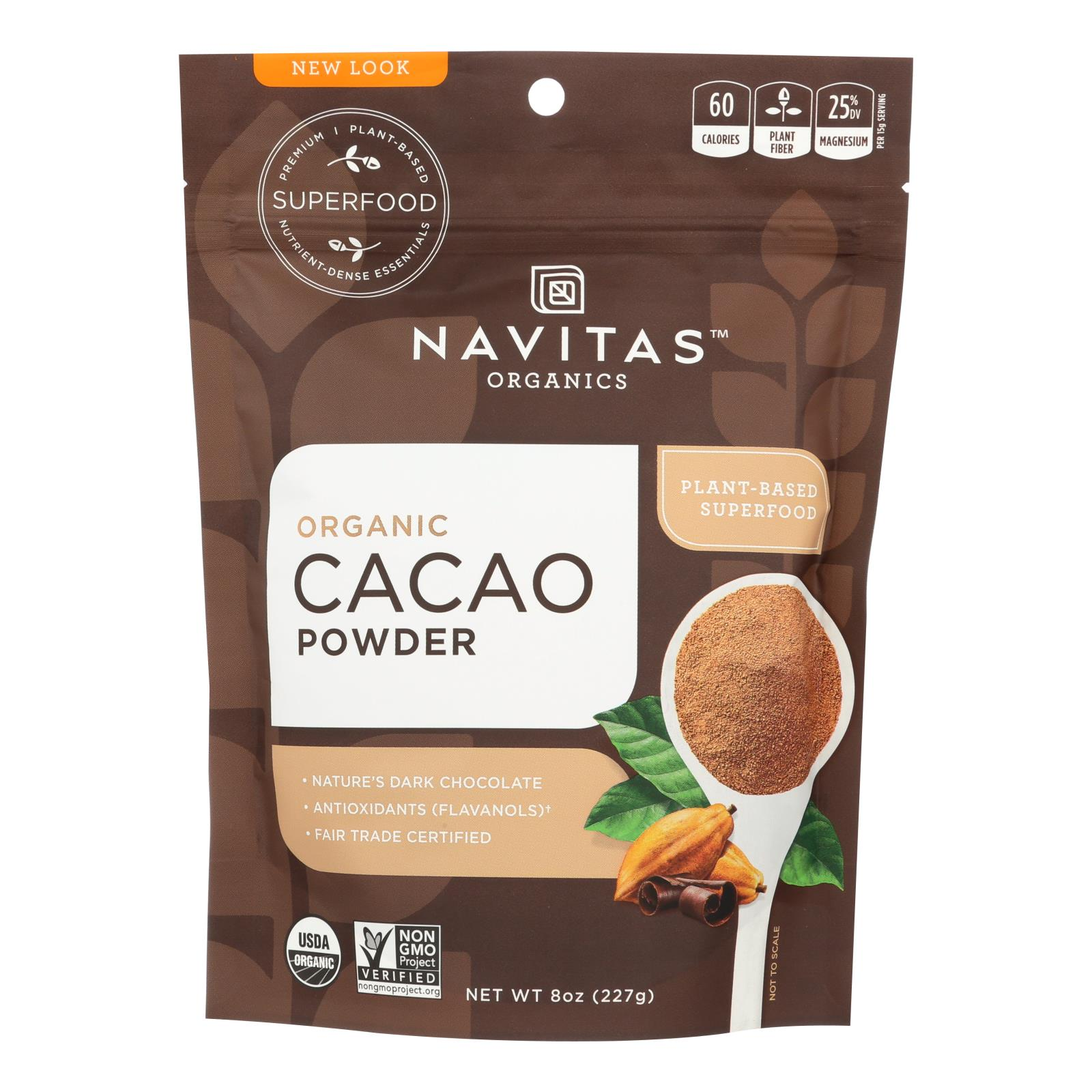 Navitas Naturals Cacao Powder - Organic - Raw - 8 oz - case of 12