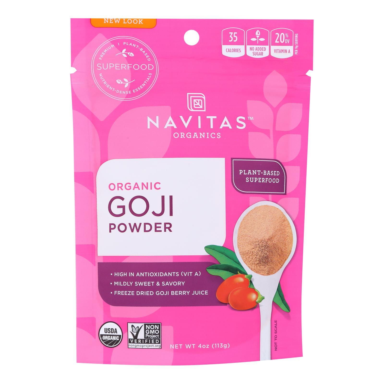 Navitas Naturals Goji Berry Powder - Organic - Freeze-Dried - 4 oz - case of 12