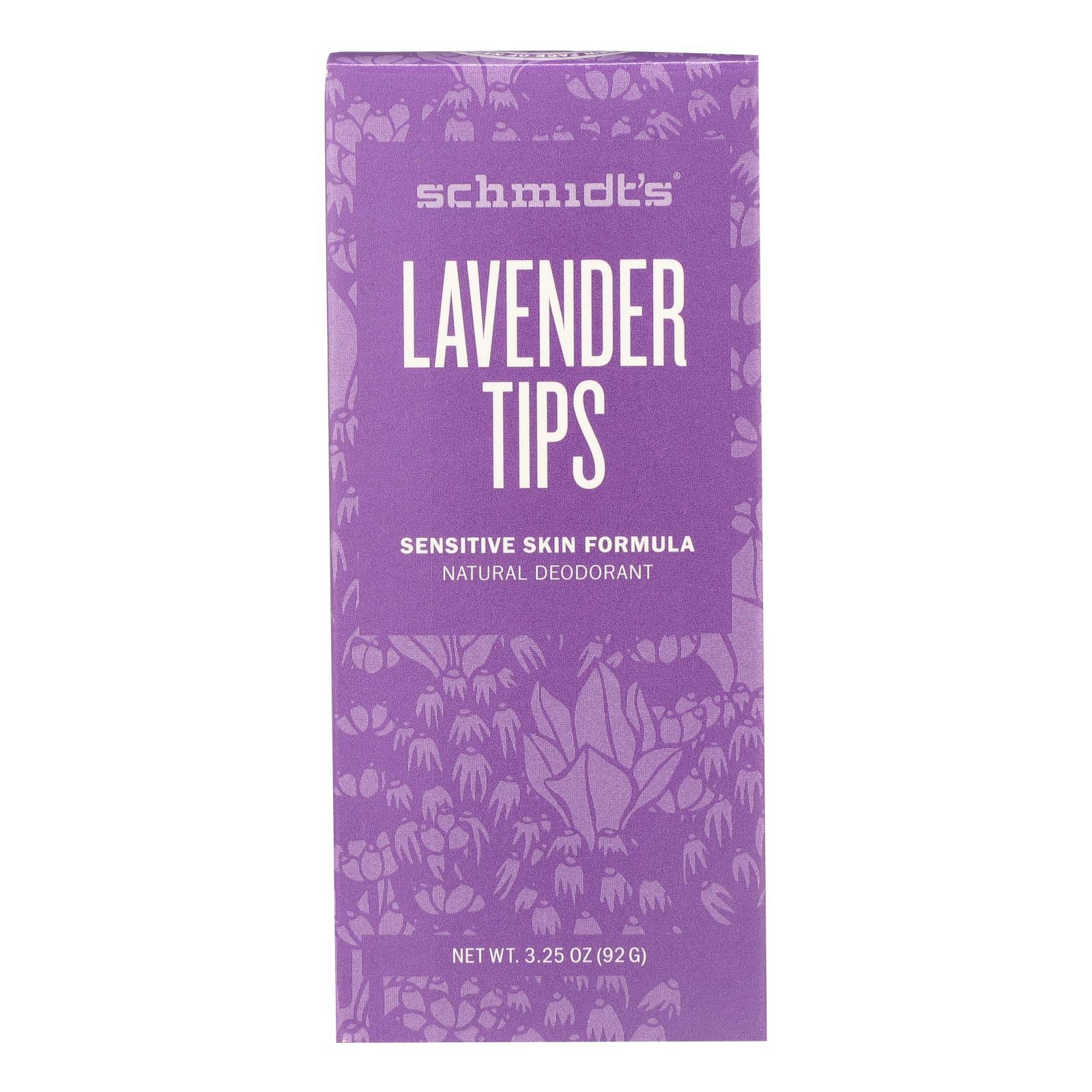 Schmidt's Natural Deodorant Stick - Lavender Tips - 3.25 OZ