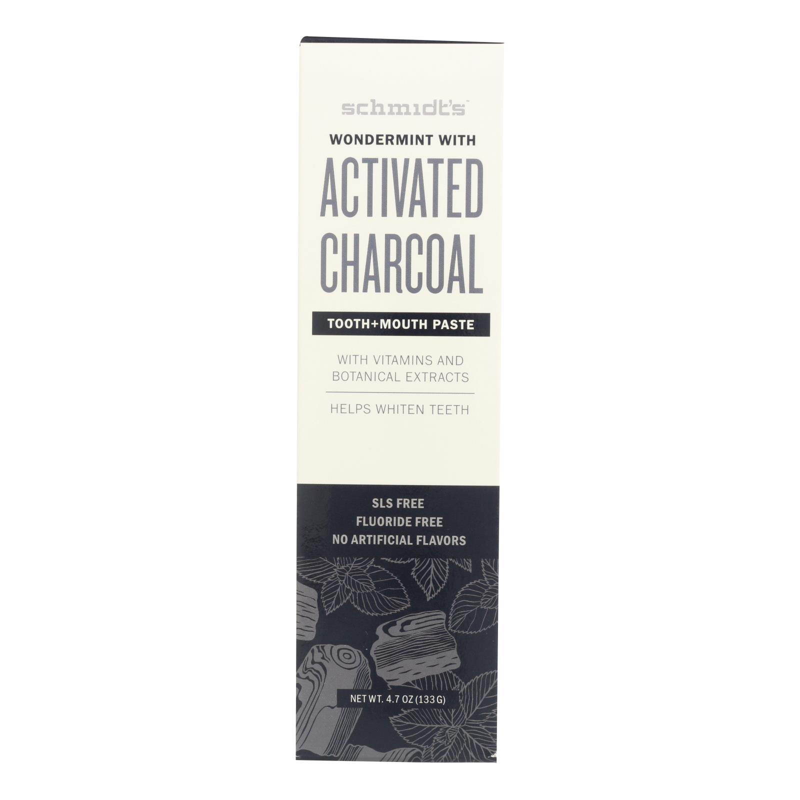 Schmidt's - Toothpaste Wondermint with Activated Charcoal - 4.7 oz.