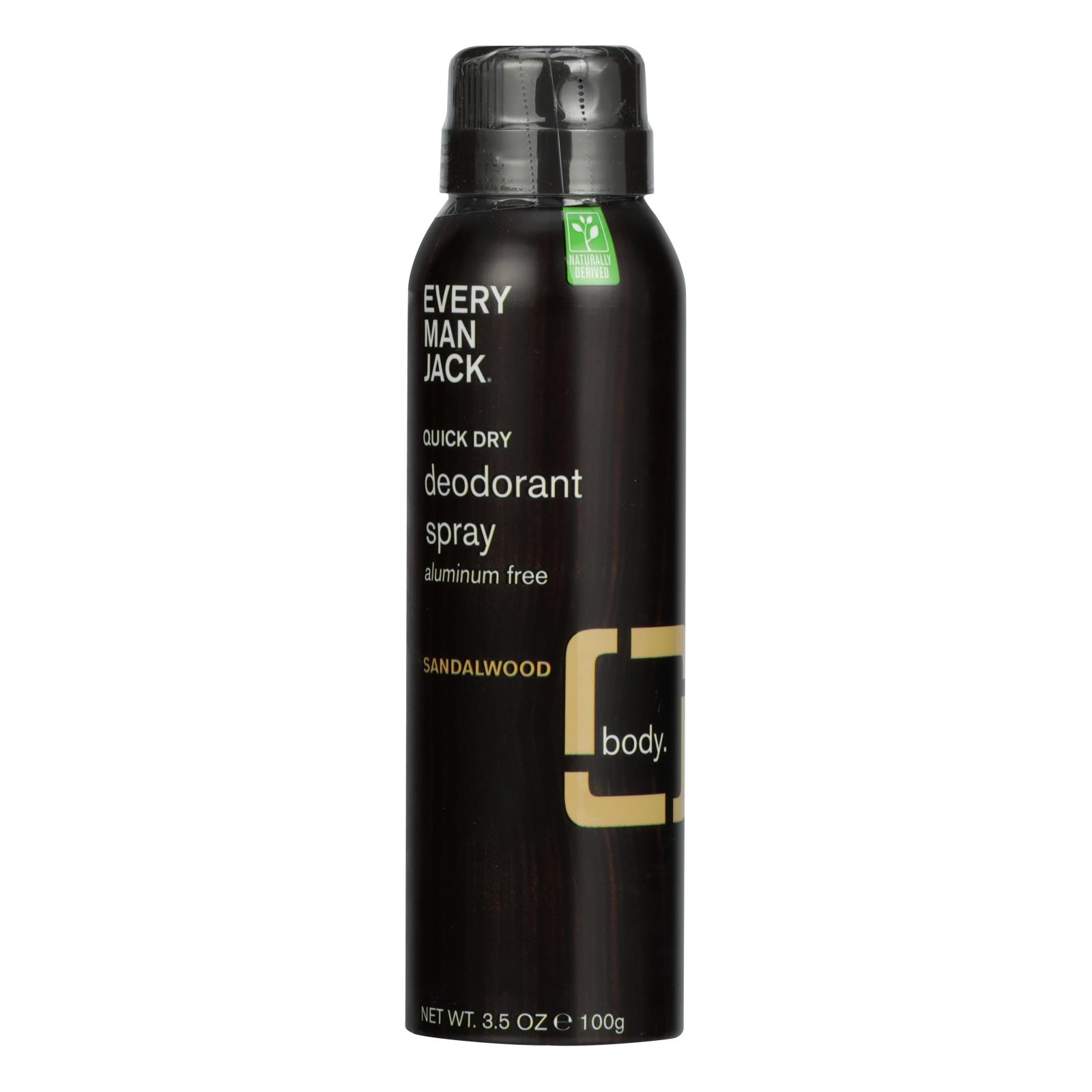 Every Man Jack - Deodorant Qk Dry Sandlwd Spray - 1 Each - 3.5 OZ