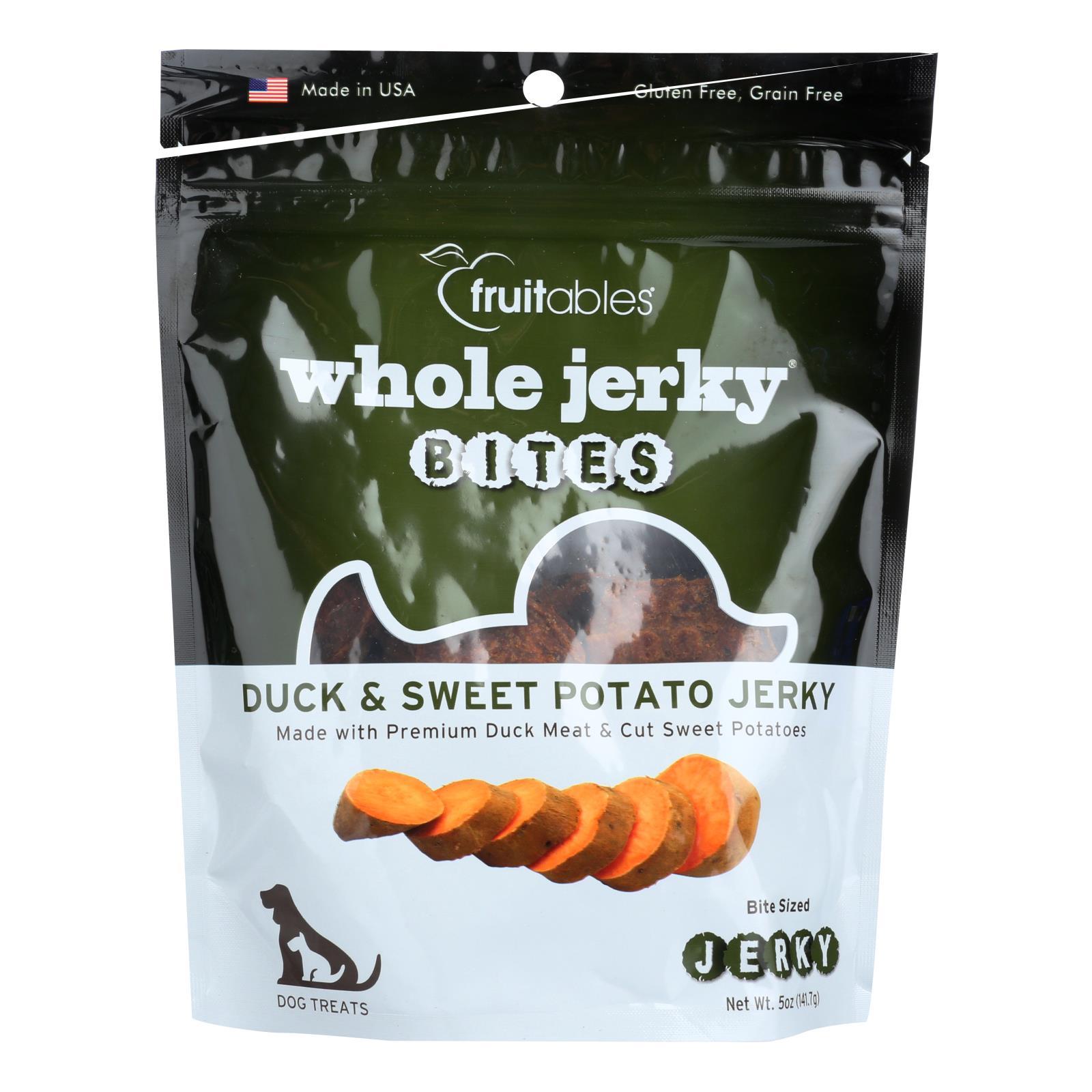 Fruitables Whole Jerky Bites Duck & Sweet Potato Jerky Dog Treats  - Case of 8 - 5 OZ