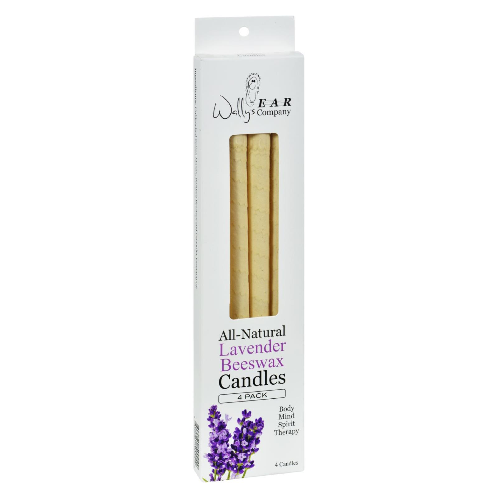 Wally's Natural Products Beeswax Candles - Lavender - 4 Pack