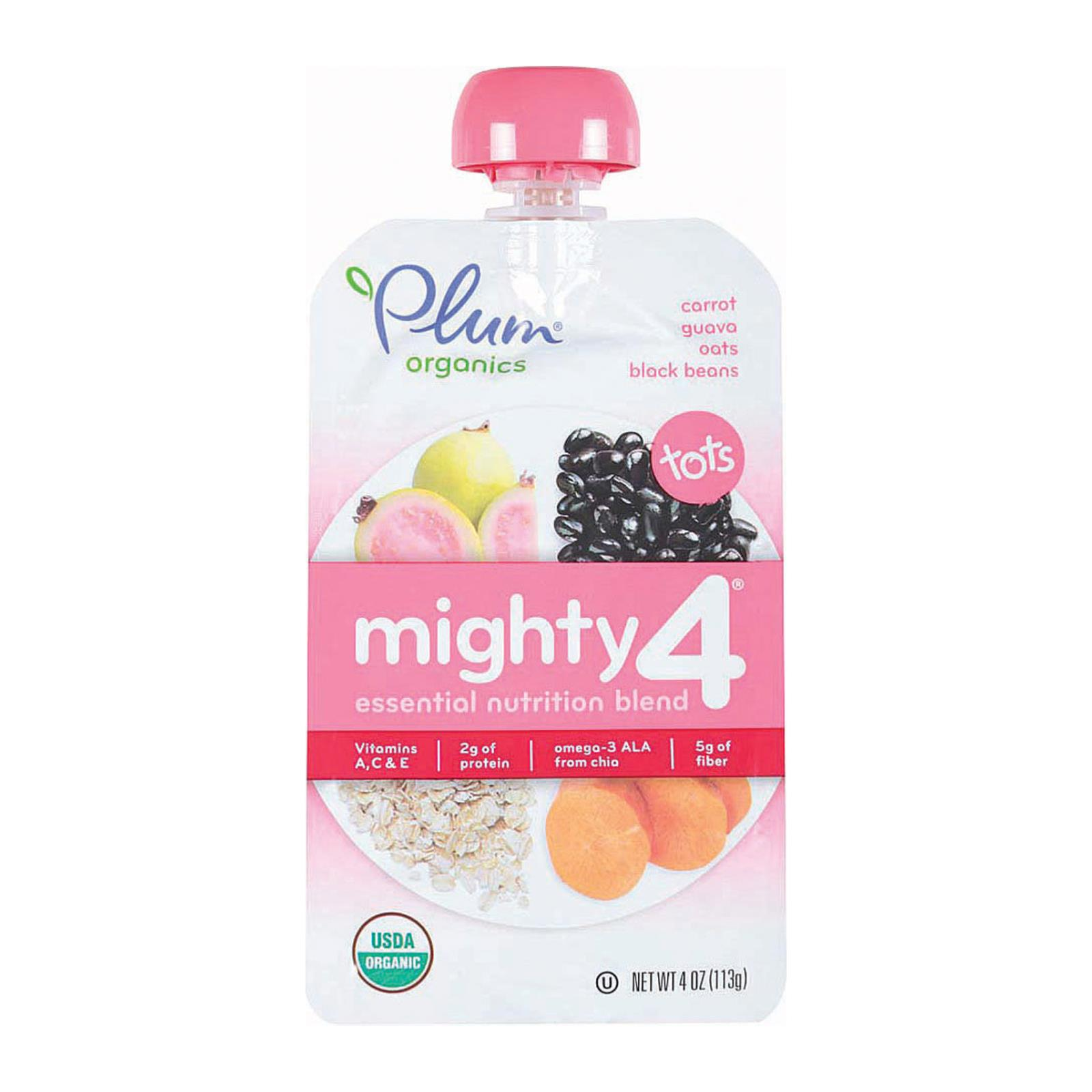 Plum Organics Mighty 4 Blends Tots - Guava Pomegranate Black Bean Carrot and Oat - Case of 6 - 4 oz.